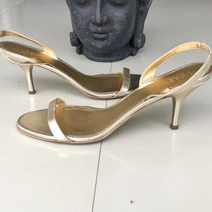 JCrew GOLD STRAPPY HEELS SANDALS LEATHER SLINGBACK
