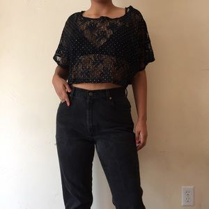 Tops - Black crochet crop top with silver dot details