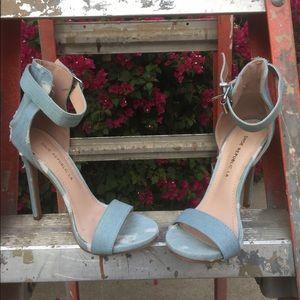 Light blue distressed denim heel w/ ankle strap