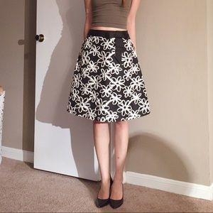Tibi 3D Floral A line bow tie skirt