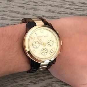 Michael Kors tortus shell & gold watch 38mm