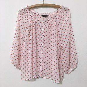 H&M Pink White Red Polka Dot Sheer Blouse Top