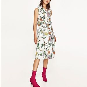 Zara floral front tie dress