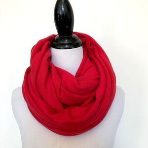 American Apparel Red Knit Cotton Infinity Scarf