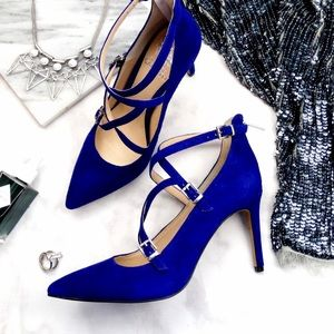 Violet Suede Strappy Pointed Toe Pumps