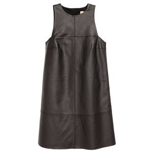 H&M Black Sleeveless Faux Leather Dress
