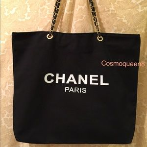 Chanel Black Canvas Gold Chain Tote Bag VIP Gift