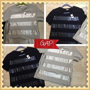 2 Tees NWT! GAP SZ Med. Bling for Day/Eve wear😍