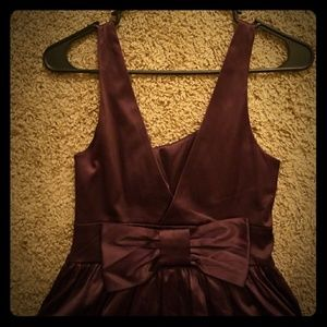 Satin fit and flare dress with bow