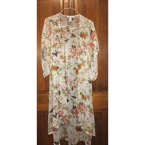 long floral kimono slip cover-up