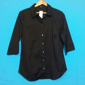 Ann Taylor Black Size 10 Medium Sleeve Blouse