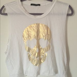 Wildfox skull print sleeveless t-shirt