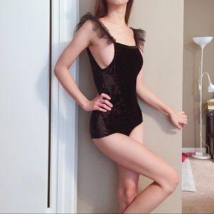 Zara black velvet ballet bodysuit