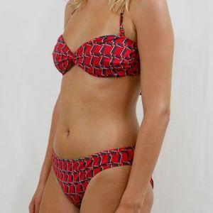 J Crew Red/Black Pattern Halter Twist Front Bikini