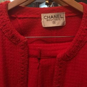 Authentic class red CHANEL suit