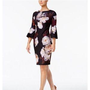 NWT Calvin Klein Bell Sleevs Floral Shealth Dress