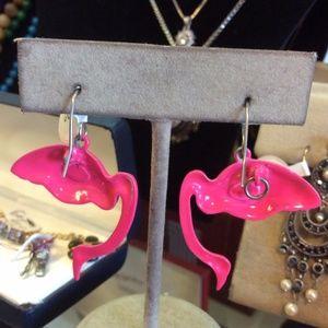 Vintage Jewelry - HOT Pink Flamingo Earrings Zoo
