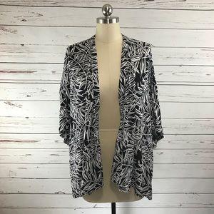 Ann Taylor LOFT Black White Kimono Jacket Tropical