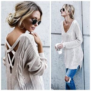 New cross back cable knit sweater with side slit