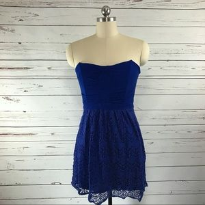 Ella Moss Blue Strapless Lace Skirt Dress Sz M