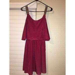 maroon silky material dress