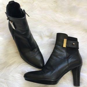 Aquatalia Black Leather Platform Bootie Size 5.5