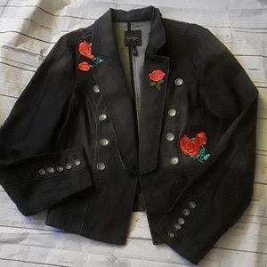 Jessica Simpson distressed denim jacket sz xl