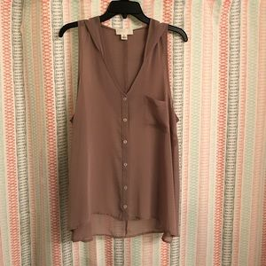 Forever 21 + Nude Sheer Hooded Tank- Size 1X