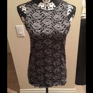 Silver and black camisole.