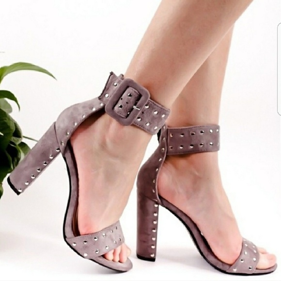 Shoes - Suede studded heels