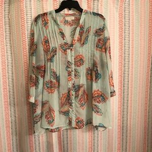 Forever 21 + Sheer Feather Print Top - Size 2X