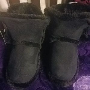 Shoes - New Black Boot Slippers W/ Dangling Balls
