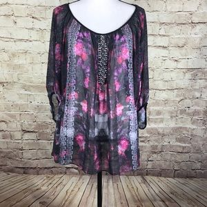 City Chic Sheer Black Bling Floral Top Plus Size L