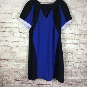 City Chic Black Blue Shift Dress Plus Size M