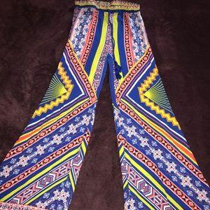 Multicolored wide legged pant