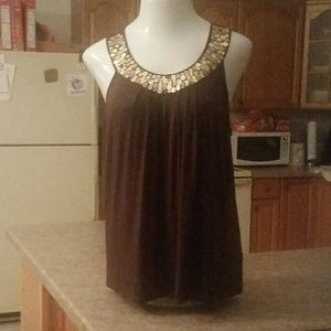Michael Kors Brown Top w/Gold Sequined Neckline XL