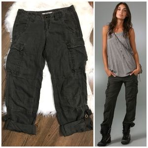 Free People LINEN Blend Army Cargo Cuffed Pants