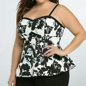 Torrid Retro chick floral Sateen Pin-UP Peplum