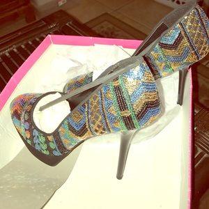 Ladies 10 platform sequin stilettos Lucky Brand