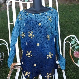 VTG OMBRE SWEATER W/ MIRRORS EMBROIDERY & PEARLS
