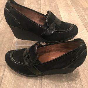Donald J Pliner Black Suede Patent Loafer Wedge