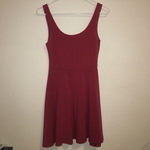 Wine Red Topshop Petite Skater Dress