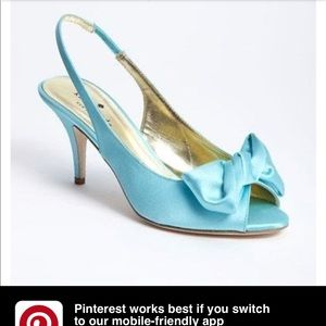 "Kate spade ""Sarah"" Tiffany blue satin heels sz 8.5"