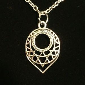 Star of David tear drop pendant necklace