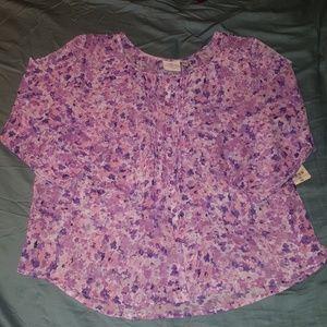 Lavender floral blouse