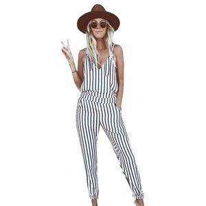 Black & White Striped Boho V-Neck Jumpsuit Romper
