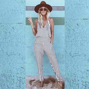 Pants - Black & White Striped Boho V-Neck Jumpsuit Romper