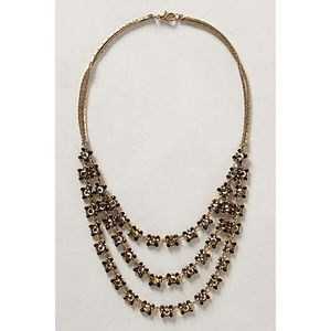 Anthropologie layered-gold flowers necklace