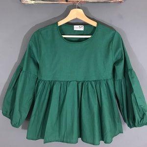 Fashion Embroidery Oversize Blouse puffy Sleeve