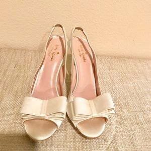 Kate spade bridal white satin sling back now heels